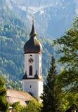 Church of Garmisch in Bavaria. Church of Garmisch in the alps of Bavaria Stock Photography