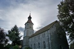 Church in Germany. In Bavaria Markt Erlabach St Leonhard Linden chapel stock photography