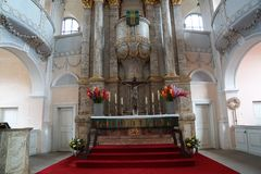 Church in Germany. Church in castell in south Germany in Bavaria royalty free stock image