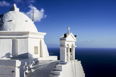 A greek church on giant monolith of 460m height! The second after givraltar! Royalty Free Stock Photo
