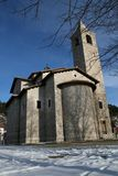 Church in Gioia V., Abruzzo. This picture has been taken in Gioia Vecchio, Abruzzo, Italy. The subject is the village church, in the snow Royalty Free Stock Photography