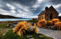 Church by a glacier lake Royalty Free Stock Images