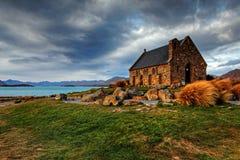 Church by a glacier lake Stock Photo