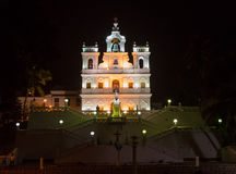 Church in GOA night view. Our Lady of the Immaculate Conception Church in Panjim ity,Goa stock photos