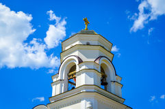 Church with gold cross on top Moscow downtown Stock Images