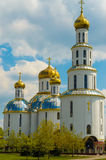 Church with golden cupolas in the city of Brest on Stock Image