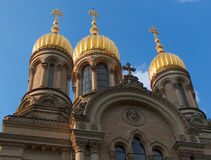 Church with golden dome. Russian Orthodox Church of Saint Elizabeth in Wiesbaden royalty free stock photos