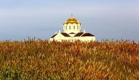 Church with a golden dome in a wheat field. Field with ears and a temple royalty free stock photos