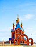 Church with golden domes. Orthodox church with golden domes Stock Images