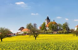 Church and golden rapeseed field (brassica napus) Royalty Free Stock Photos