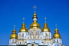 Church with golden tops. Amazing church with golden tops which attracts attention of lots of people. Photo taken in Kiev, Ukraine Stock Image