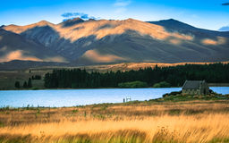 Church of the good shepard with beautiful mountain background Royalty Free Stock Photos