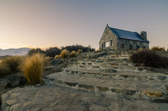 The Church of The Good Shepherd. Beautiful dawn at Church of The Good Shepherd, Lake Tekapo, New Zealand. This church is one of the most famous tourist Stock Photos