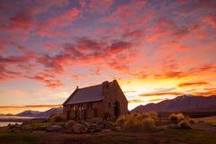 Church of the Good Shepherd on a beautiful morning. Idyllic morning at Lake Tekapo in South Island, New Zealand Royalty Free Stock Photos