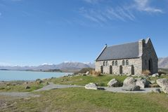 Acient church at lake front. Church of the Good Shepherd, Lake Tekapo, New Zealand Royalty Free Stock Photo