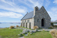 Acient church at lake front. Church of the Good Shepherd, Lake Tekapo, New Zealand Stock Image