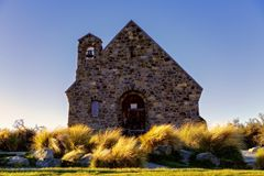 The Church Of The Good Shepherd On Lake Tekapo In New Zealand. The historic Church Of the Good Shepherd on Lake Tekapo in New Zealand in late afternoon, just royalty free stock image