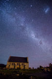 Church of The Good Shepherd and the Milky Way Stock Images