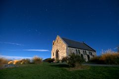 Church of Good Shepherd near the lake Tekapo Royalty Free Stock Photo