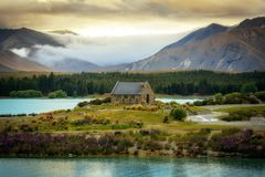 Church of the Good Shepherd, New Zealand stock photo