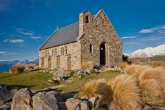 Church of the Good Shepherd, New Zealand. Famous tourist attraction is Church of the Good Shepherd in Lake Tekapo, New Zealand royalty free stock photos