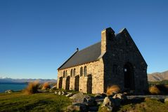 The Church of the Good Shepherd stained with the setting sun,New Zealand Stock Photos