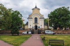 Church in Gora Kalwaria. Gora Kalwaria, Poland - June 24, 2017: Holy Cross Exaltation Church in Gora Kalwaria, small town near Warsaw stock photo