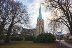 Church in Gothenburg and beautiful park. Winter Royalty Free Stock Photo