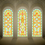Church gothic stained glass windows royalty free illustration