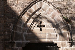 Church Gothic Style Architecture Entrance, Barcelona, Spain.  Royalty Free Stock Images