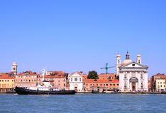 Church at Grand canal in Venice Royalty Free Stock Images