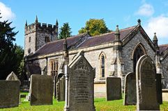 Church and gravestones, Ashford-in-the-Water. Royalty Free Stock Photos