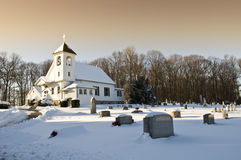 Church and Graveyard. Under the snow in Baltimore county, Maryland Stock Image