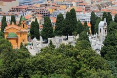 Church and graveyard of Nice Castle in France royalty free stock photo