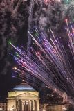 Church of the Great Mother - Turin - Piedmont - Italy - Fireworks at city celebration of Saint John Royalty Free Stock Photo
