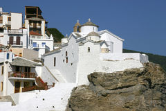 Church in greece. Little white church on a hill in greece Royalty Free Stock Photo
