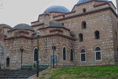 Church in a Greek Town. A picture of a church in a Greek town Thessaloniki,of the name alaja imaret.It's a mosque built in the 15th centurynmore info here Stock Image