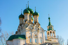 Church with green domes in Russia. Stock Photo