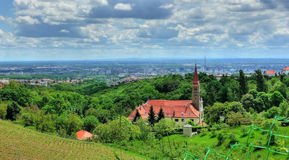 Church on green hill above croatian capital Zagreb Royalty Free Stock Photos