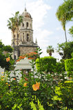 Church in Guadalajara Jalisco, Mexico. Hibiscus blooming near The Sanctuary of Our Lady of Solitude, Guadalajara Jalisco, Mexico stock photos