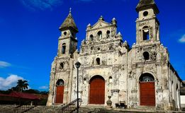Church of guadeloupe. Typical fortress church of colonial type, located in the historic center of the oldest city in Central America. burnt by william walker stock photo