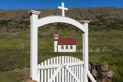 Church at Gufudalur-Nedri with Gate. White church with red roof and white gate at Gufudalur-Nedri on Iceland Stock Images