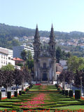 Church in Guimaraes. Park leading to a church in Guimaraes, Portugal stock photos
