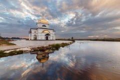 Church in Gusintsi village, Ukraine. Church in Gusintsi village at sunrise, Ukraine Royalty Free Stock Images