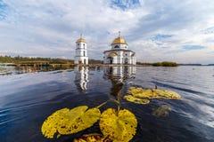 Church in Gusintsi village, Ukraine. Church in Gusintsi village from water, Ukraine Royalty Free Stock Photos