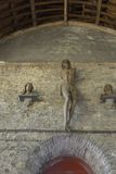Church hall and christ figure  at the 1000 year old ruins of the sint-baafs abbey Stock Images