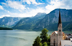Church of Hallstatt with Lake Royalty Free Stock Images
