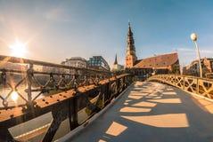 Sankt Katharinen, Hamburg. A church at the harbor in Hamburg. Picture taken during sunset Stock Photos