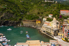 Church and harbor on Vernazza stock image