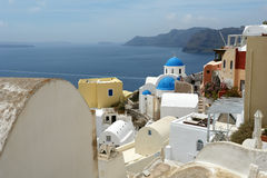 Church and harbour on Santorini island. Royalty Free Stock Image